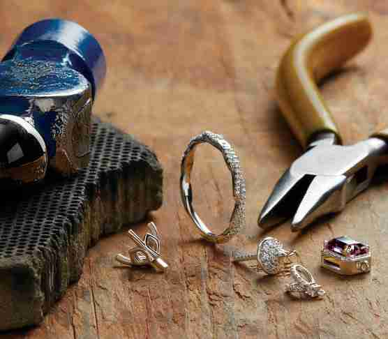Diamond ring with some tools