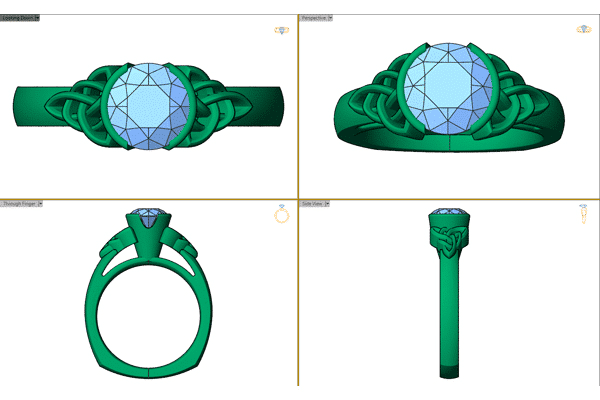 Custom Celtic Engagement Ring CAD