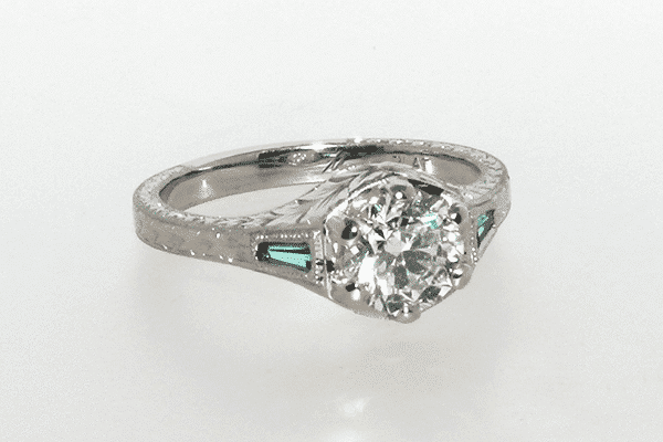 Custom Emerald Accented Engagement Ring Final