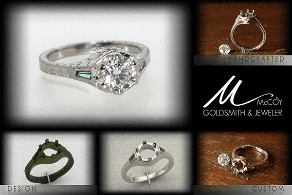 Custom Emerald Accented Engagement Ring Steps