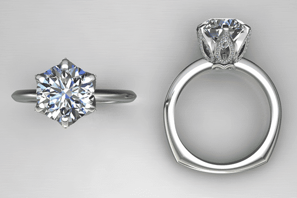 Custom Six Prong Floral Engagement Ring Design