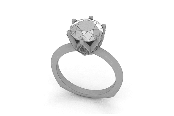 Custom Six Prong Floral Engagement Ring Sketch