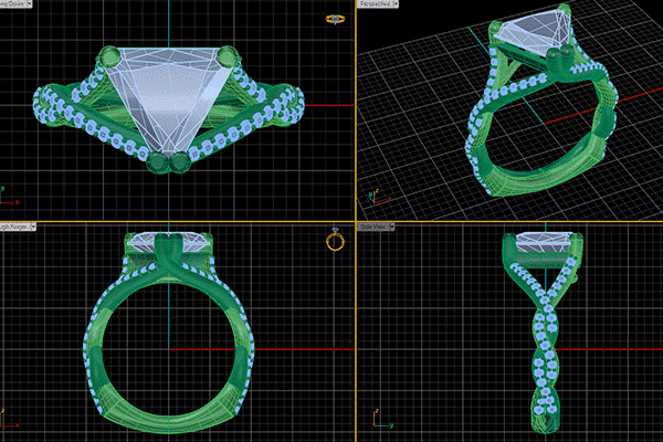 Custom Woven Trillion Engagement Ring CAD Rendering