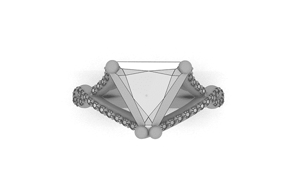 Custom Woven Trillion Engagement Ring Sketch