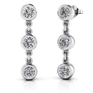 Bezel Lab Grown Diamond Dangle Earrings