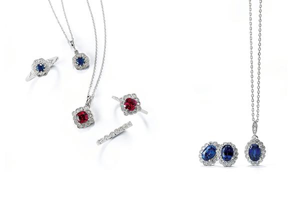 earrings, necklace, rings