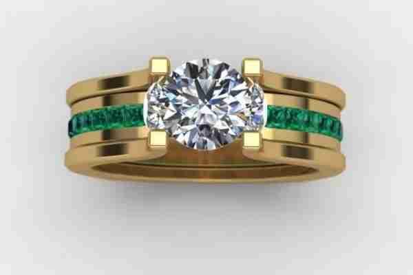 McCoy Custom with emerald side stones