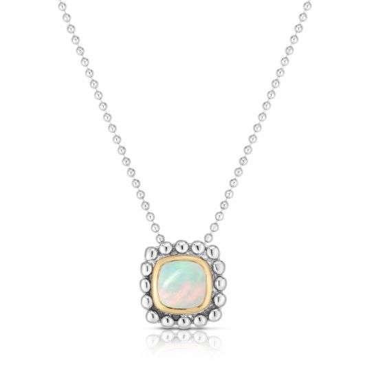 Opal Bezel Popcorn Style Necklace